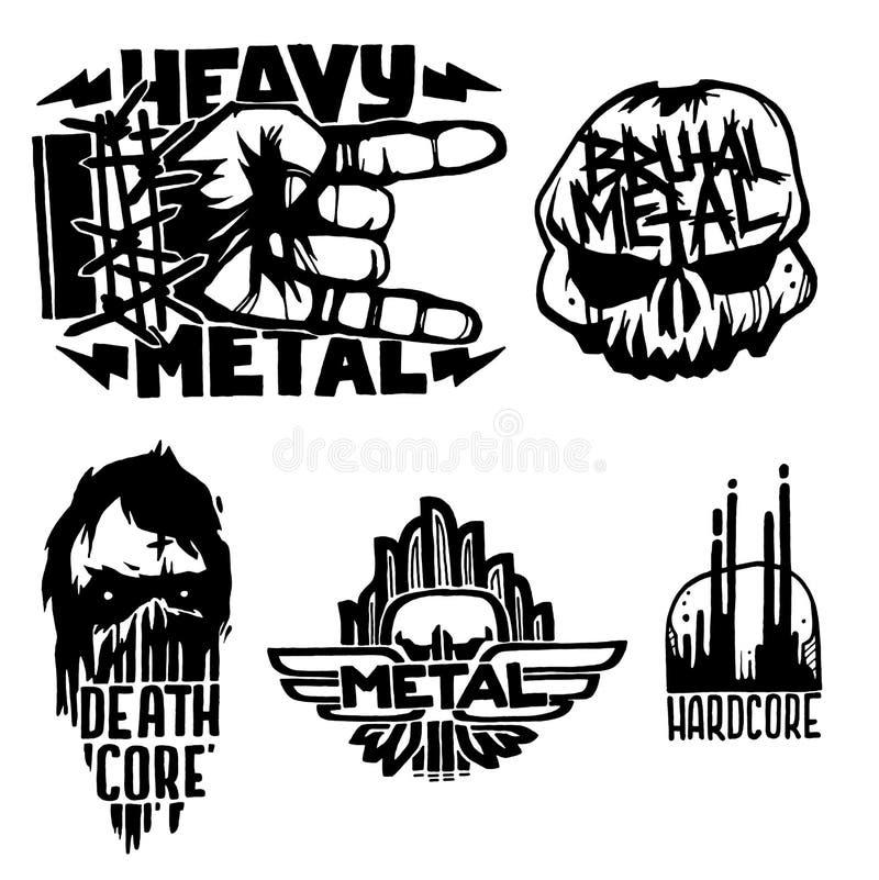 Las etiquetas pesadas del vintage del vector de la insignia de la música rock con la etiqueta engomada dura de los sonidos de los ilustración del vector
