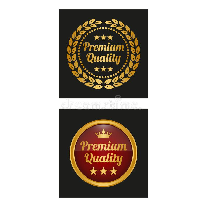 Las etiquetas superiores de la calidad con el laurel enrruellan en dos versiones ilustración del vector