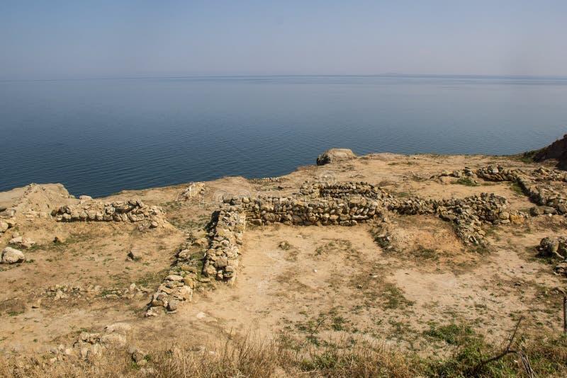 Las excavaciones de la arqueología en la península Tmutarakan de Taman en la costa del Mar Negro imagenes de archivo