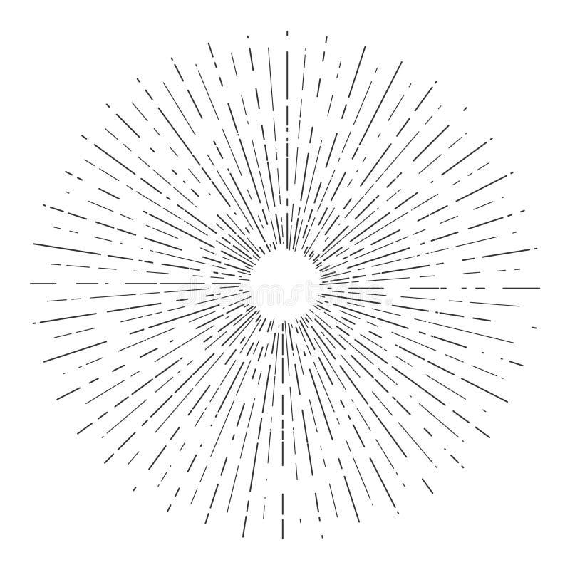 Las explosiones retras del sol, sol radiante del vintage irradian la forma para el logotipo, las etiquetas o los emblemas y vecto ilustración del vector