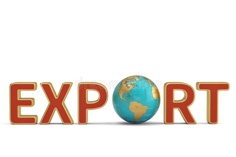 Las exportaciones las sociedades globales redactan y del comercio del negocio del globo enfermedad 3d stock de ilustración