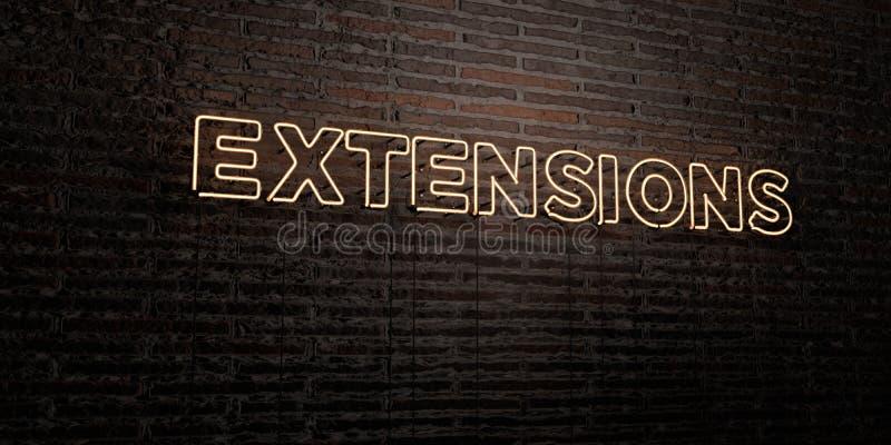 Las EXTENSIONES - señal de neón realista en fondo de la pared de ladrillo - 3D rindieron imagen común libre de los derechos stock de ilustración