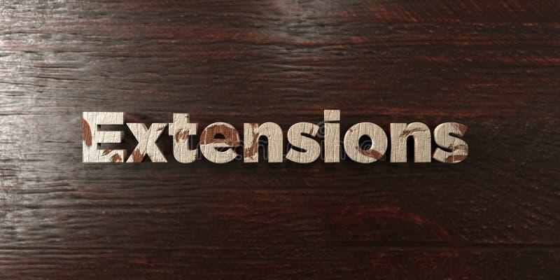 Las extensiones - título de madera sucio en arce - 3D rindieron imagen común libre de los derechos ilustración del vector