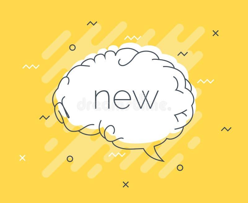 Las extremidades rápidas badge con cerebro de la burbuja del discurso el nuevo Vector plano de moda en fondo amarillo Vector eleg stock de ilustración