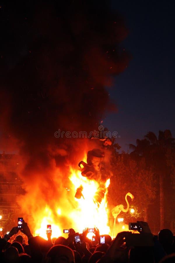 Las Fallas Feuerpartei in Spanien lizenzfreies stockfoto