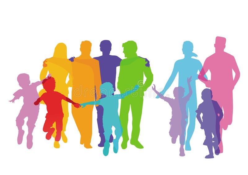 Las familias con los ni?os, los padres y los amigos se est?n divirtiendo stock de ilustración