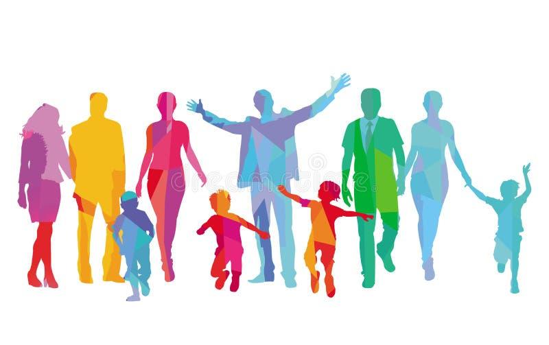 Las familias con los ni?os, los padres y los amigos se est?n divirtiendo libre illustration