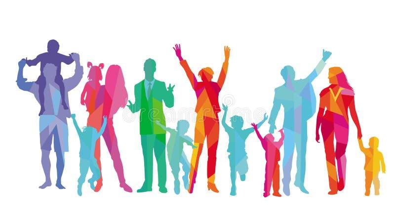 Las familias con los ni?os, los padres y los amigos se est?n divirtiendo ilustración del vector