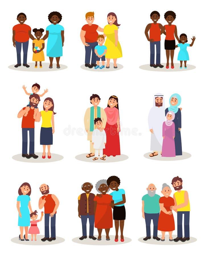Las familias felices de diversas nacionalidades de los países diferentes fijaron, los padres y sus niños en nacional y libre illustration