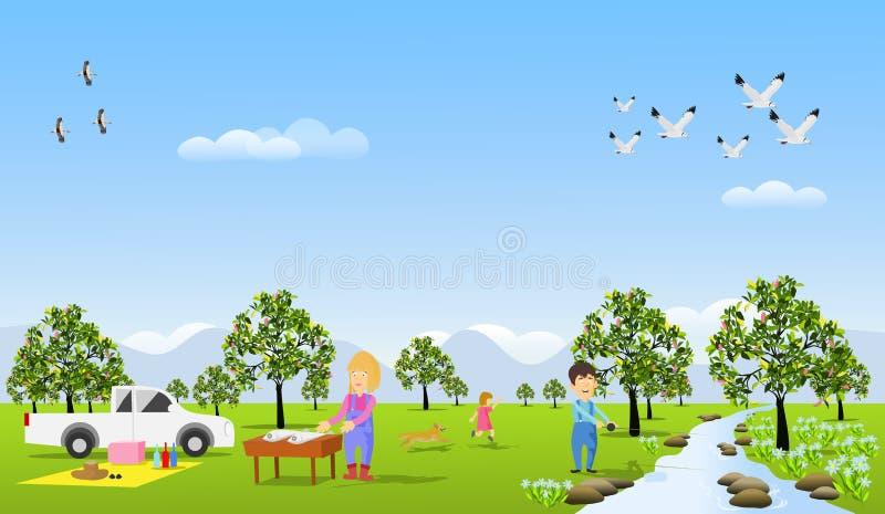 Las familias vienen descansar sobre los días de fiesta en el bosque stock de ilustración
