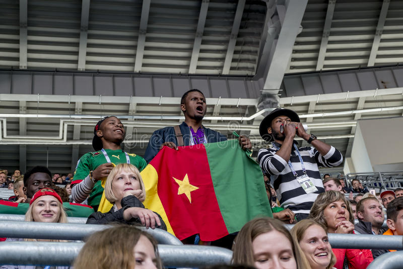 Las fans en el partido del Camerún y de Australia en el Confedera fotos de archivo libres de regalías