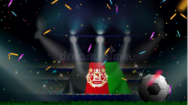 Las fans sostienen la bandera de Afganistán entre la silueta de la audiencia de la muchedumbre en estadio de fútbol con confeti p stock de ilustración