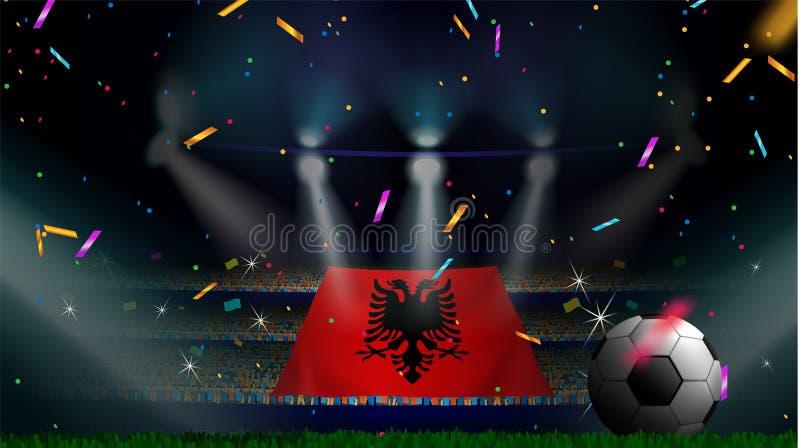 Las fans sostienen la bandera de Albania entre la silueta de la audiencia de la muchedumbre en estadio de fútbol con confeti para stock de ilustración