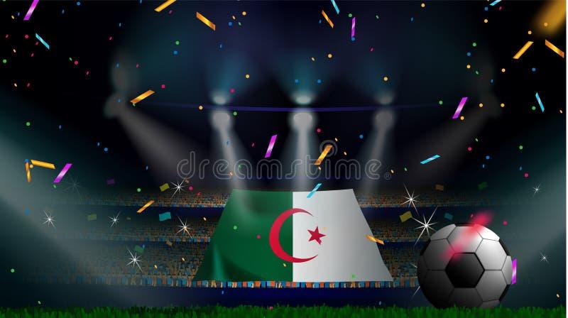 Las fans sostienen la bandera de Argelia entre la silueta de la audiencia de la muchedumbre en estadio de fútbol con confeti para libre illustration