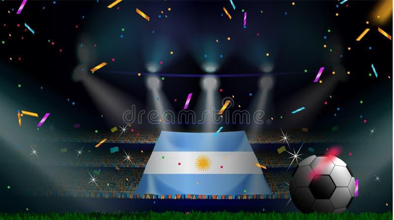 Las fans sostienen la bandera de la Argentina entre la silueta de la audiencia de la muchedumbre en estadio de fútbol con confeti ilustración del vector