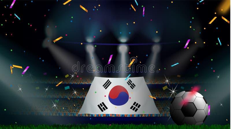 Las fans sostienen la bandera de la Corea del Sur entre la silueta de la audiencia de la muchedumbre en estadio de fútbol con con ilustración del vector