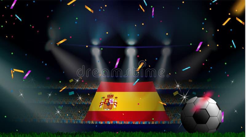 Las fans sostienen la bandera de España entre la silueta de la audiencia de la muchedumbre en estadio de fútbol con confeti para  libre illustration