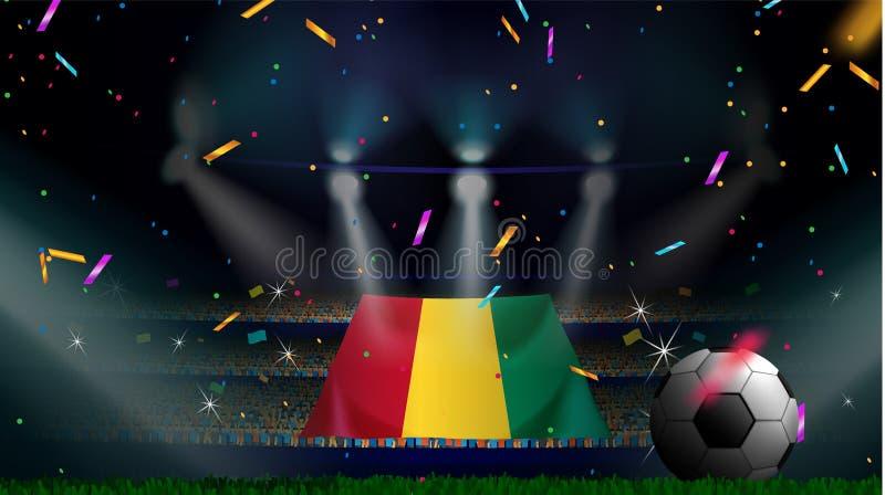 Las fans sostienen la bandera de Guinea entre la silueta de la audiencia de la muchedumbre en estadio de fútbol con confeti para  libre illustration