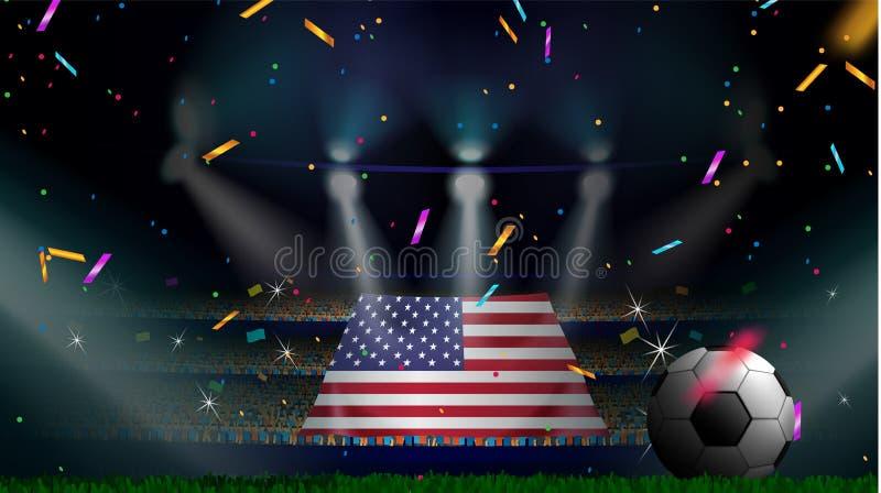 Las fans sostienen la bandera de los E.E.U.U. entre la silueta de la audiencia de la muchedumbre en estadio de fútbol con confeti libre illustration