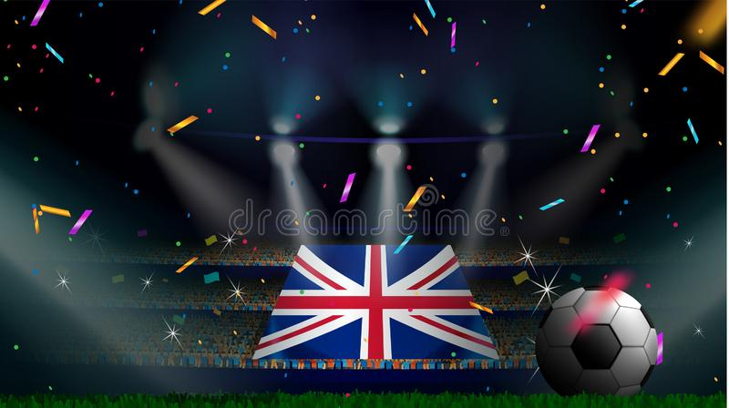 Las fans sostienen la bandera de Reino Unido entre la silueta de la audiencia de la muchedumbre en estadio de fútbol con confeti  libre illustration