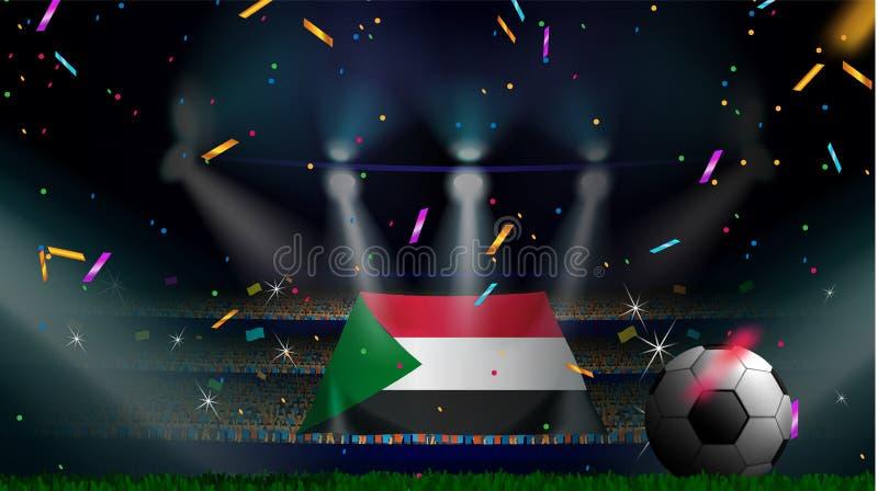 Las fans sostienen la bandera de Sudán entre la silueta de la audiencia de la muchedumbre en estadio de fútbol con confeti para c ilustración del vector