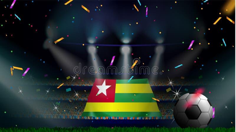 Las fans sostienen la bandera de Togo entre la silueta de la audiencia de la muchedumbre en estadio de fútbol con confeti para ce libre illustration