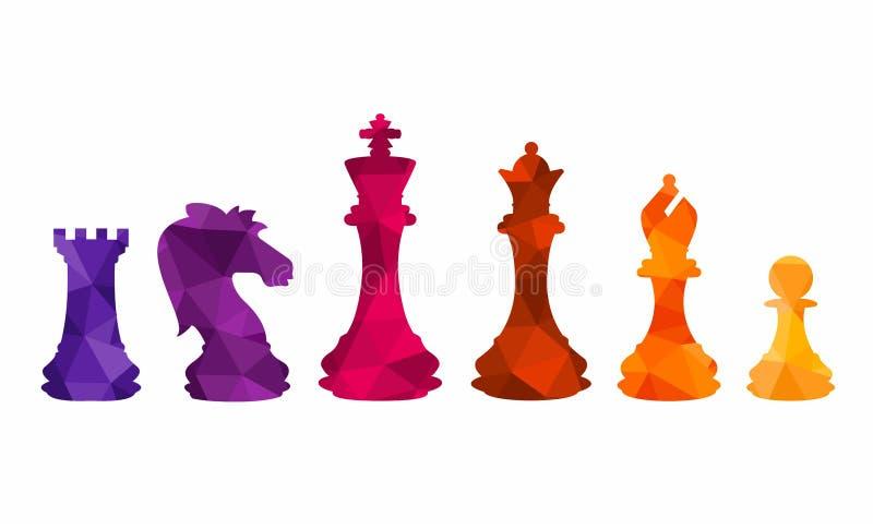 Las figuras coloridas del ajedrez juntan las piezas del ejemplo del vector del juego de torneo foto de archivo libre de regalías