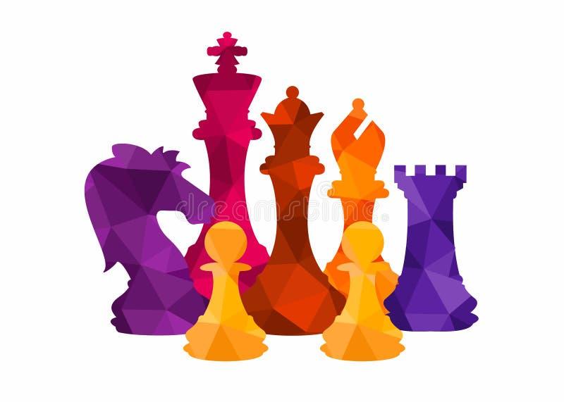 Las figuras coloridas del ajedrez juntan las piezas del ejemplo del vector del juego de torneo foto de archivo