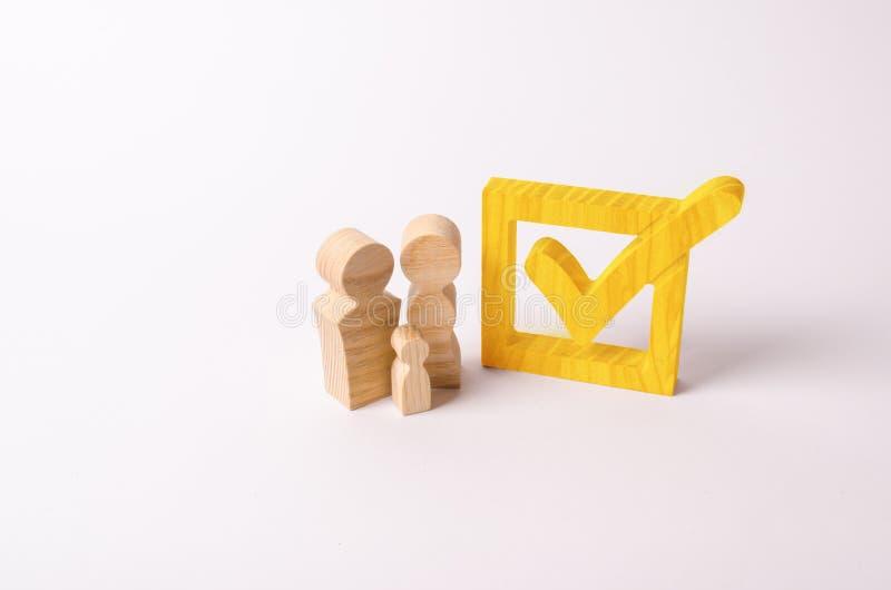 Las figuras de madera de la gente se colocan cerca de la señal en la caja fotos de archivo
