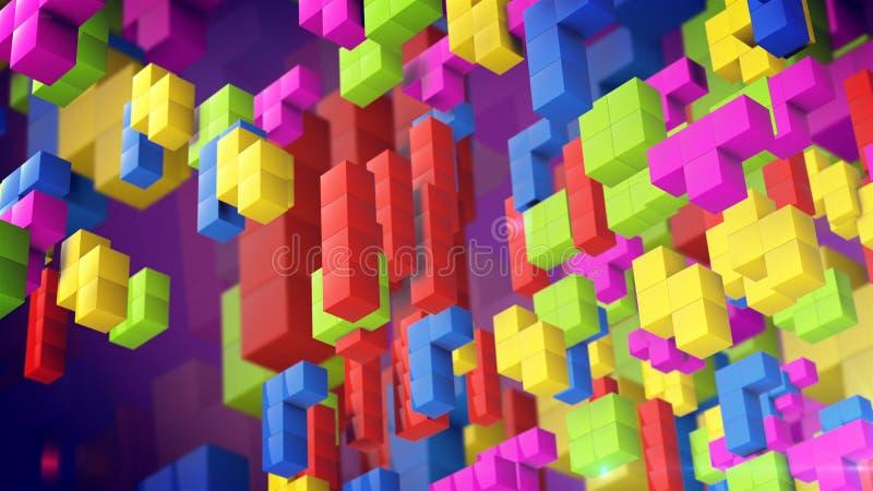 Las figuras del juego de Tetris caen abajo libre illustration