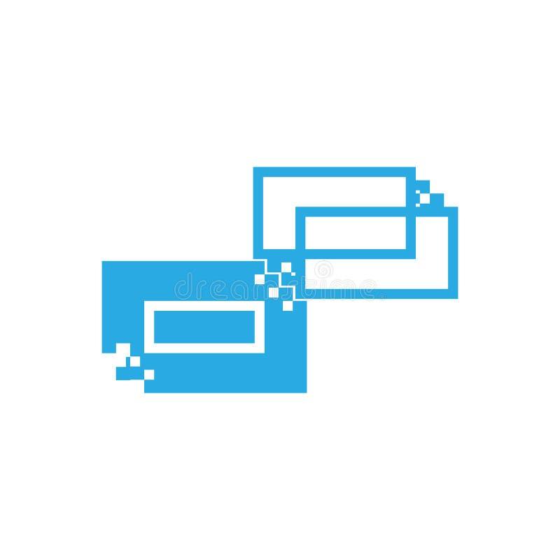 Las figuras geométricas de la imagen del vector del color azul bajo la forma de rectángulos y contornos que hacen un logotipo par libre illustration