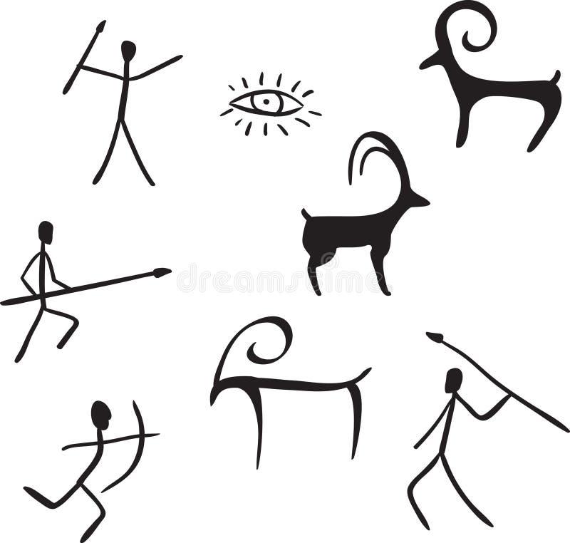 Las figuras primitivas parecen la pintura de cuevas stock de ilustración