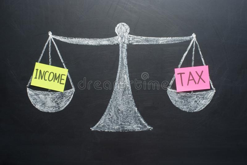 Las finanzas de la balanza del impuesto sobre la renta reservan concepto de las escalas imagen de archivo libre de regalías