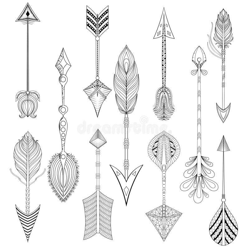 Las flechas étnicas del vector fijadas en zentangle diseñan, concepto Mano drenada ilustración del vector