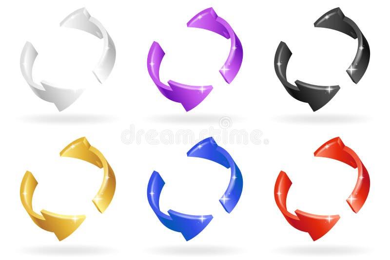 Las flechas abstractas coloridas de la rotación de la vuelta fijaron el ejemplo isométrico aislado del vector del diseño 3d ilustración del vector