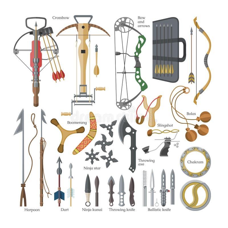 Las flechas agudas del vector del arma que lanzan del sistema del armamento del ejemplo de la ballesta y del cuchillo o del hacha stock de ilustración