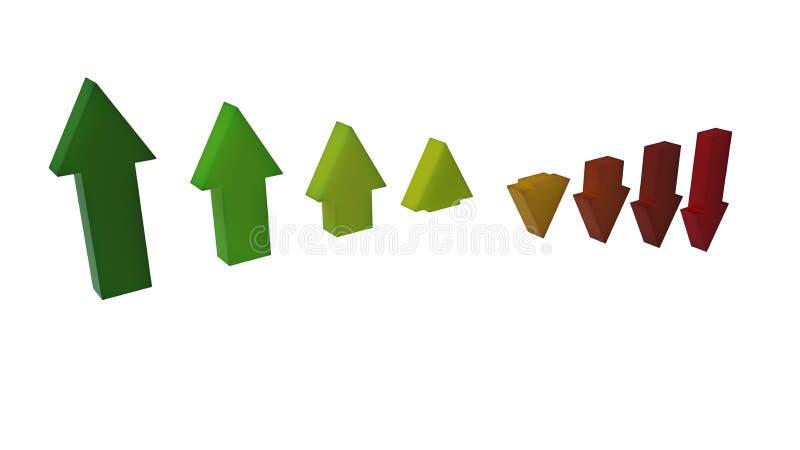 Las flechas caen abajo ilustración del vector