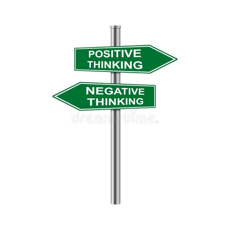 Las flechas comunes del vector firman el pensamiento positivo y el pensamiento negativo libre illustration
