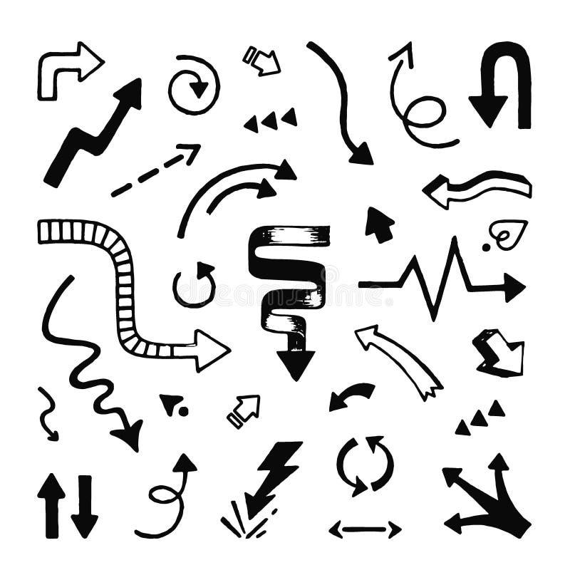 Las flechas dan exhausto Línea incompleta indicadores del garabato de flecha y símbolos del vector del garabato de la dirección ilustración del vector