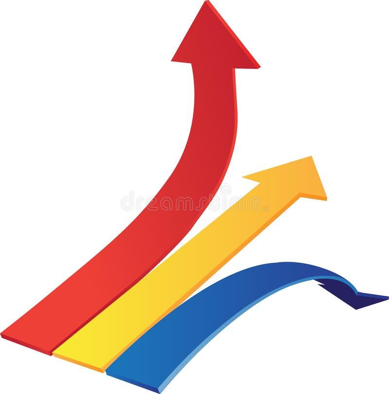 Las flechas del diagramm de Dynamyk para arriba, abajo, alinean stock de ilustración