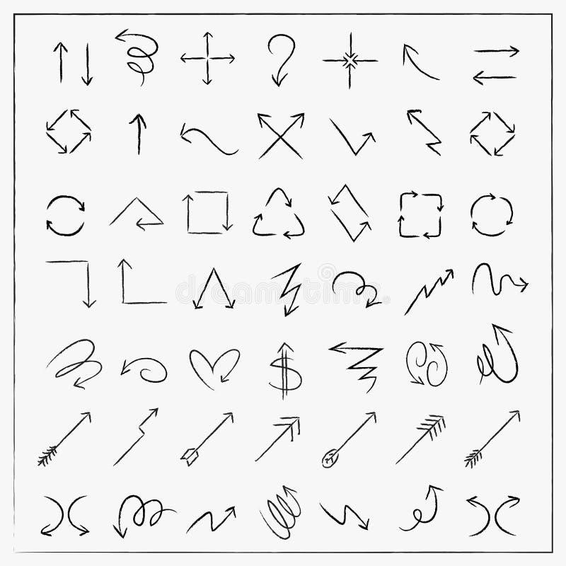 Las flechas del estilo del bosquejo fijaron la colección libre illustration