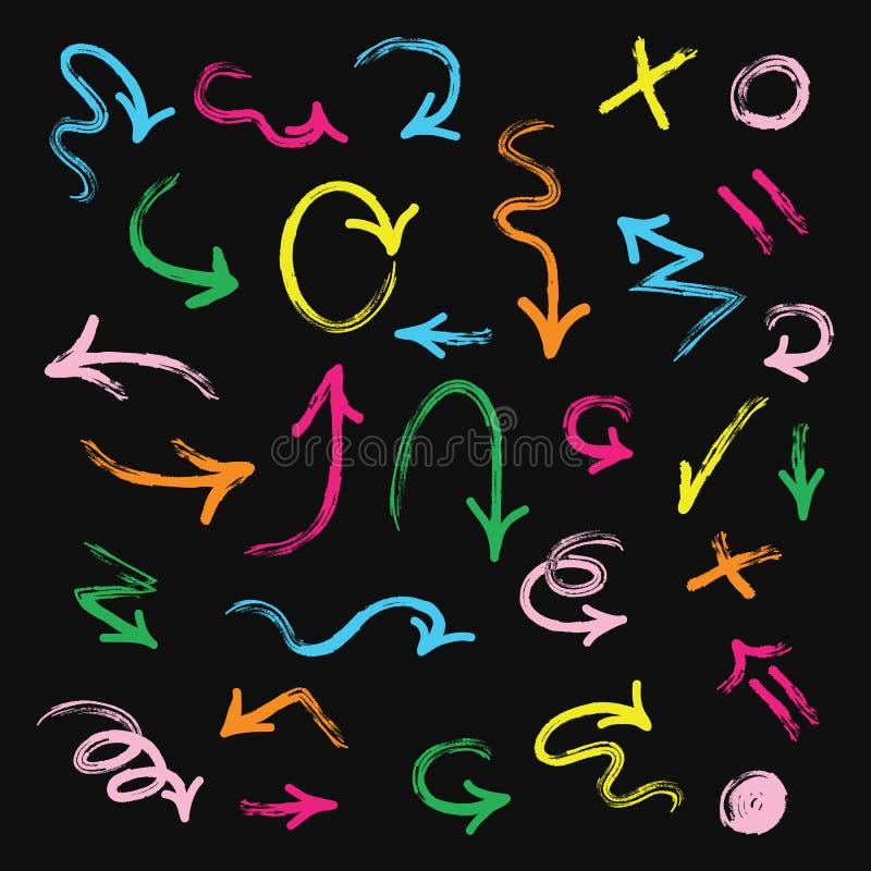 Las flechas dibujadas mano colorida fijaron en fondo negro libre illustration