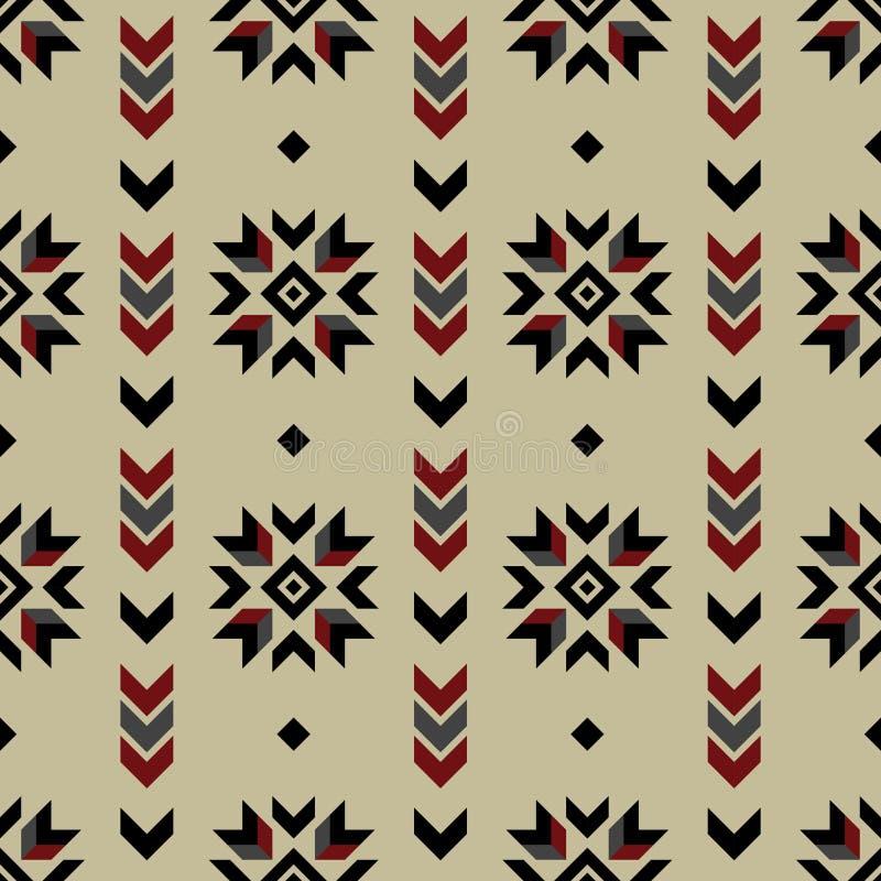 Las flechas indias inconsútiles del vector del modelo y fondo geométrico de tipo americano nativo de los ornamentos de los E.E.U. stock de ilustración