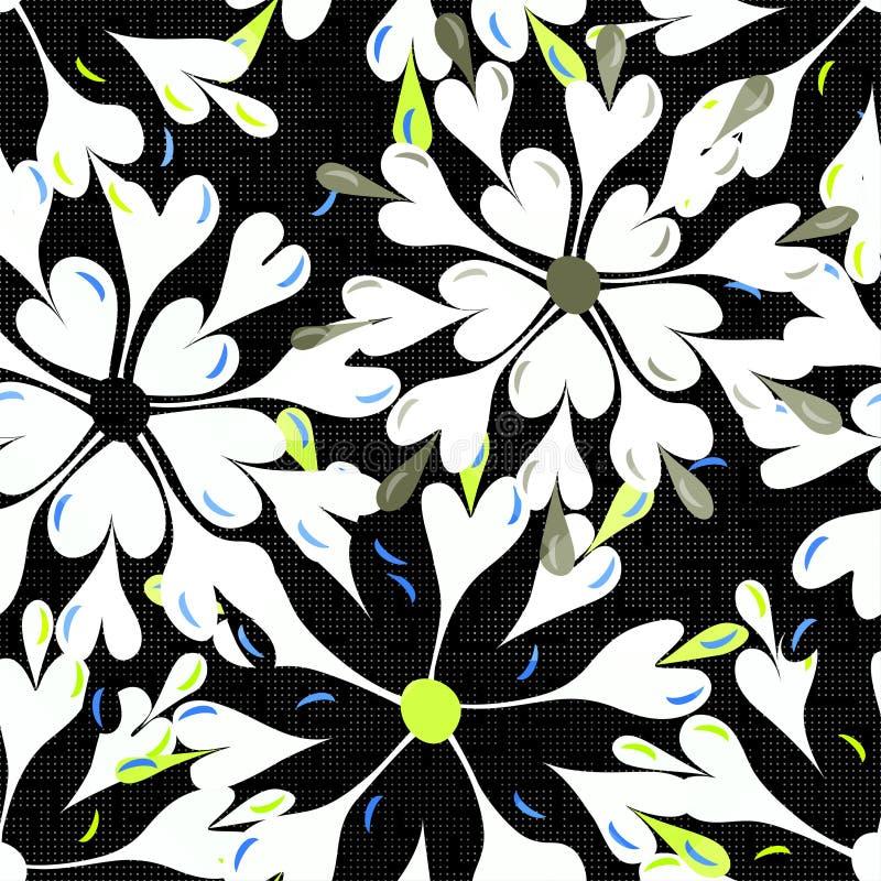 Las flores abstractas brillantemente coloreadas en un modelo inconsútil del fondo negro vector el ejemplo libre illustration