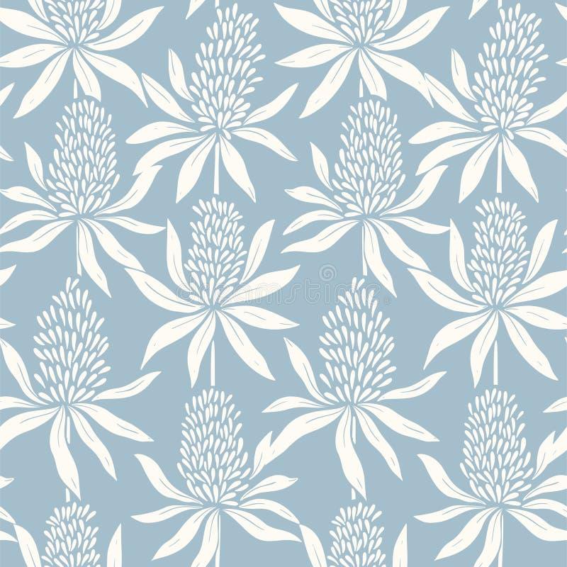 Las flores abstractas dan el modelo azul inconsútil exhausto ilustración del vector