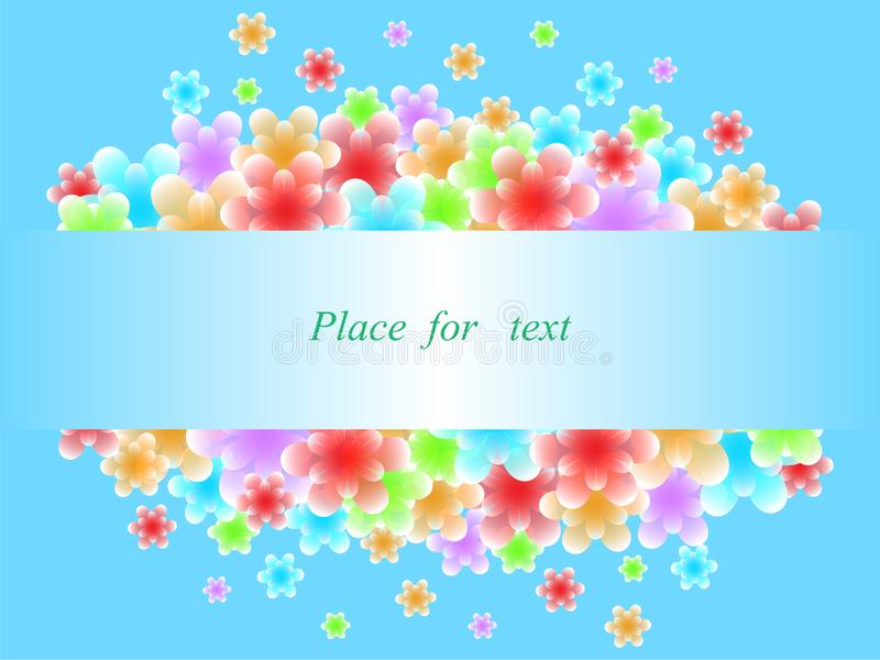 Las flores abstractas est?n volando del marco Lugar para el texto Resplandor azul stock de ilustración