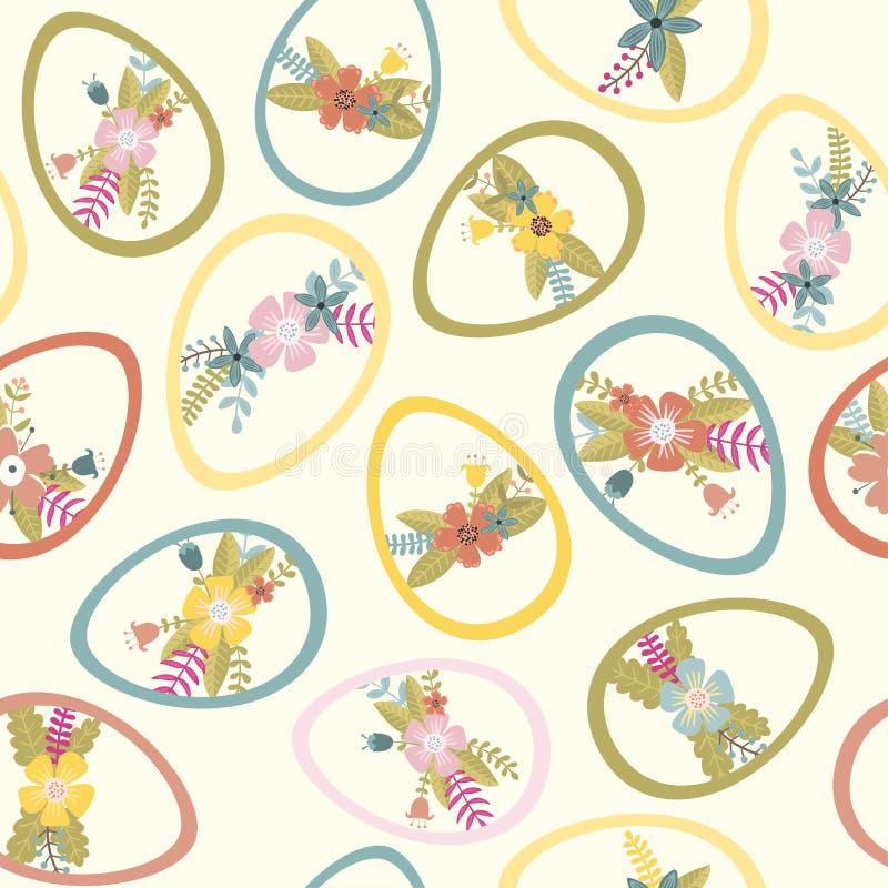 Las flores adornaron los huevos Modelo apacible de pascua, ejemplo del vector libre illustration