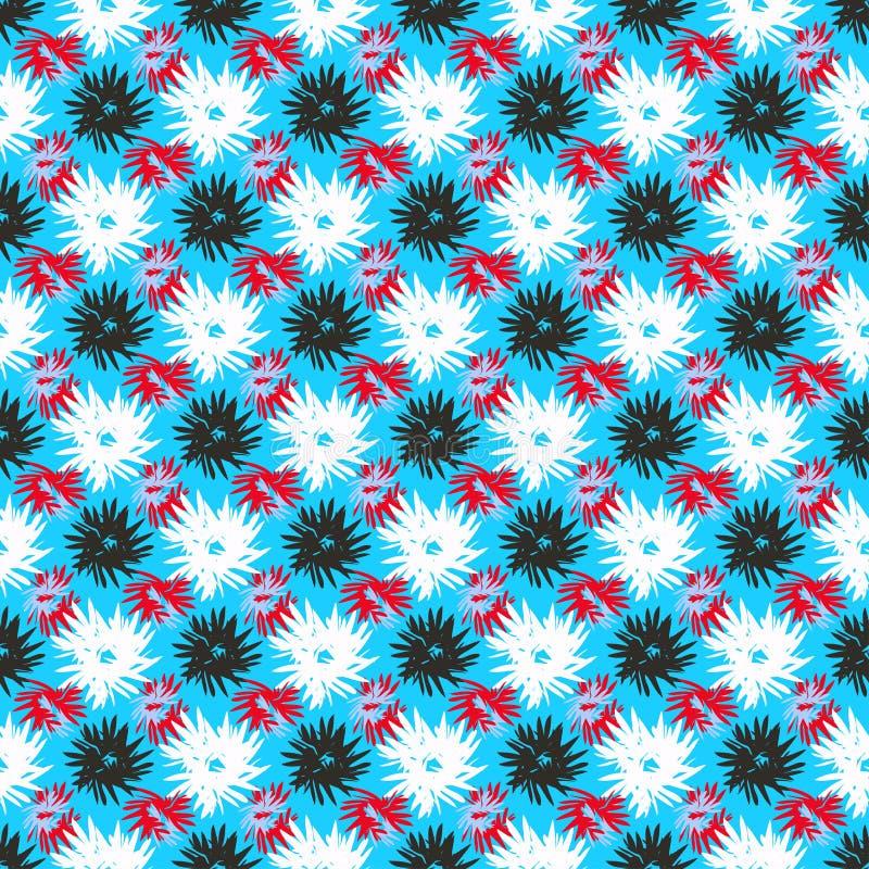 Las flores blancas negras rojas en un fondo azul vector el ejemplo libre illustration