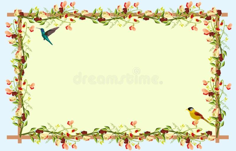 Las flores coloridas en los cuatro lados de la cerca son pájaros amarillos abajo y colibríes en el top ilustración del vector