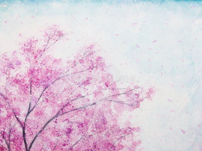 Las flores de cerezo de la acuarela florecen Sakura stock de ilustración
